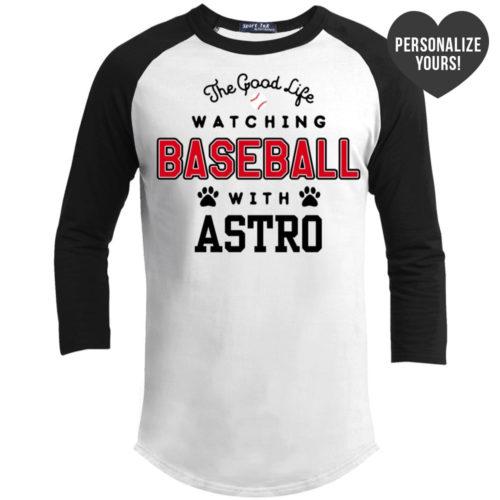 The Good Life Baseball Personalized 3/4 Sleeve White Baseball Shirt