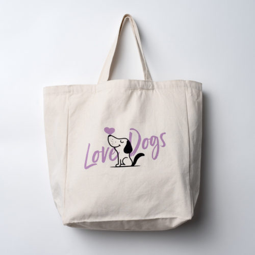 Love Dogs Large Canvas Tote