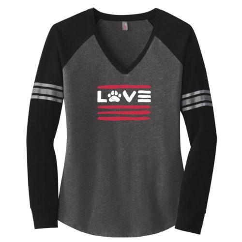 Love Paws And Stripes Varsity V-Neck Grey & Black Long Sleeve