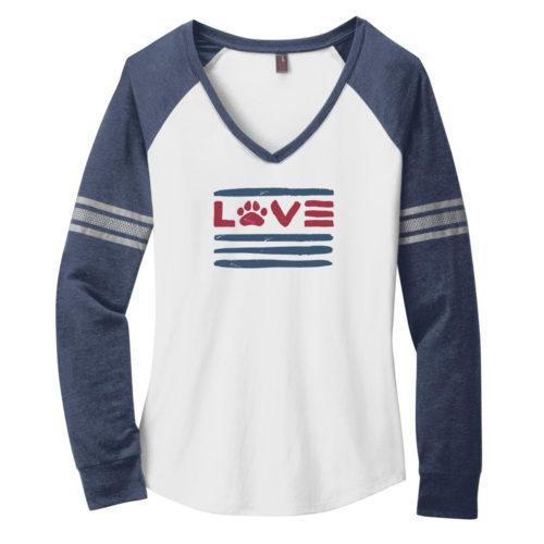 Love Paws And Stripes Varsity V-Neck White & Navy Long Sleeve