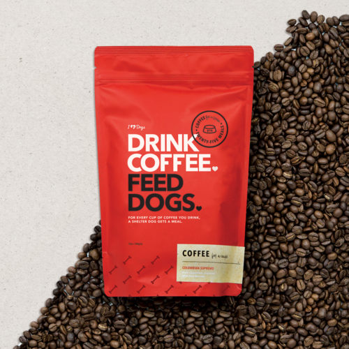 """Drink Coffee. Feed Dogs."" Colombian Supremo Ground Coffee (12 oz.)"