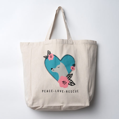 Peace Love Rescue Large Canvas Tote