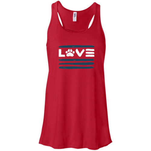 Love Paws And Stripes Flowy Red Tank