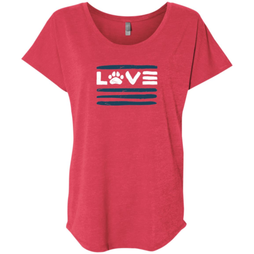 Love Paws And Stripes Slouchy Vintage Red Tee