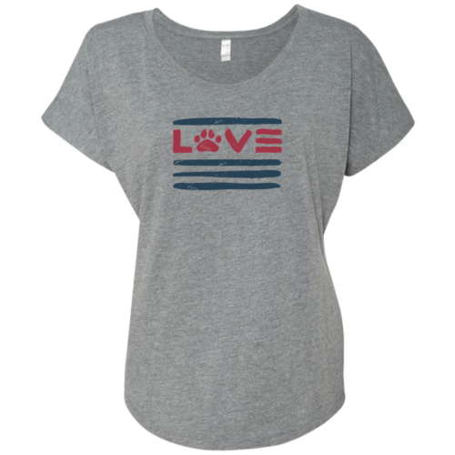 Love Paws And Stripes Slouchy Heather Grey Tee