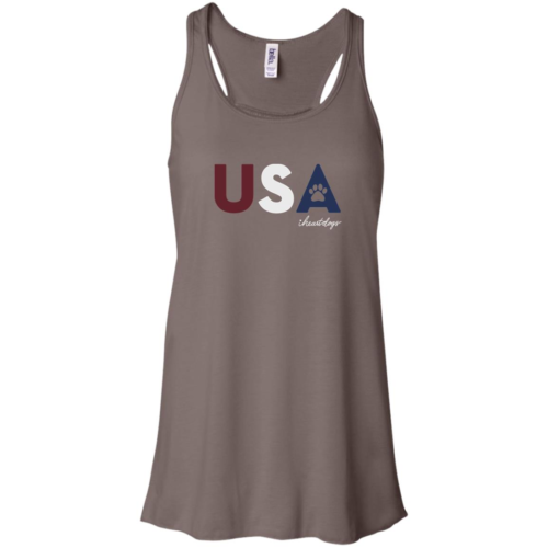 PAWS For The USA Flowy Brown Tank
