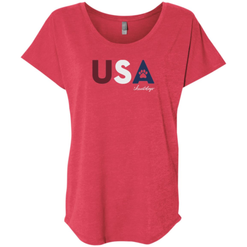 PAWS For The USA Slouchy Red Tee