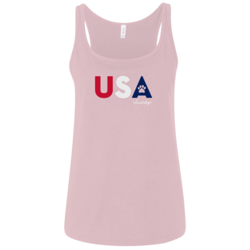 PAWS For The USA Relaxed Fit Pink Tank