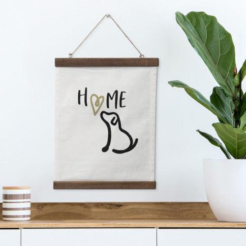 Home Is Where The Dog Is Canvas Scroll Wall Decor