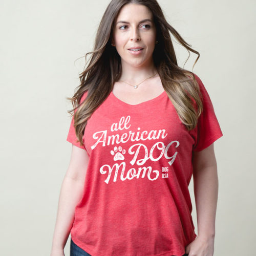 All American Dog Mom Slouchy Red Tee