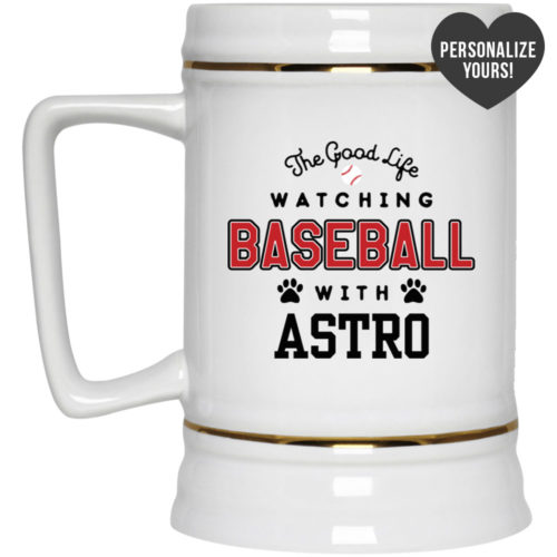 The Good Life Baseball Personalized Beer Stein 22oz.