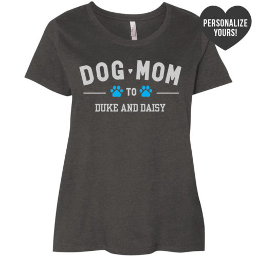 Dog Mom To My Fur Babies Personalized Curvy Fit Vintage Smoke Scoop Neck Tee