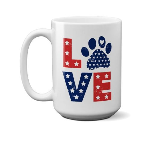 Love Paw USA 15 oz. White Mug