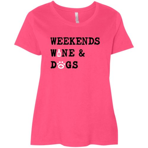 Weekend Wine & Dogs Curvy Fit Pink Scoop Neck Tee