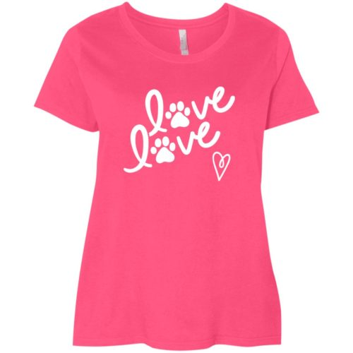 Love Love Curvy Fit Pink Scoop Neck Tee
