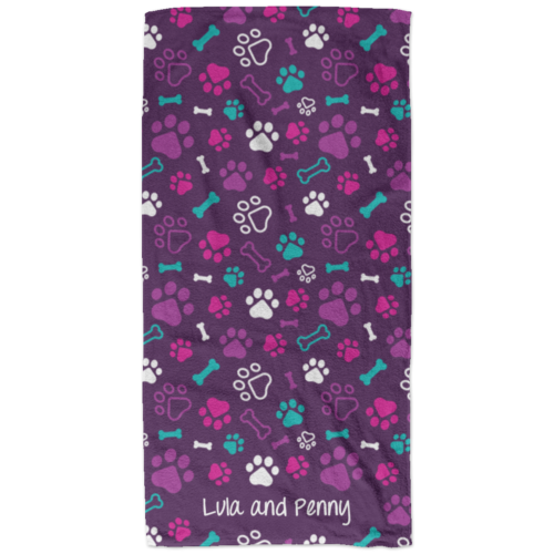Bone & Paw Purple Personalized Beach Towel