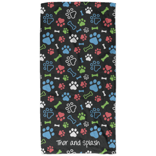 Bone & Paw Black Personalized Beach Towel
