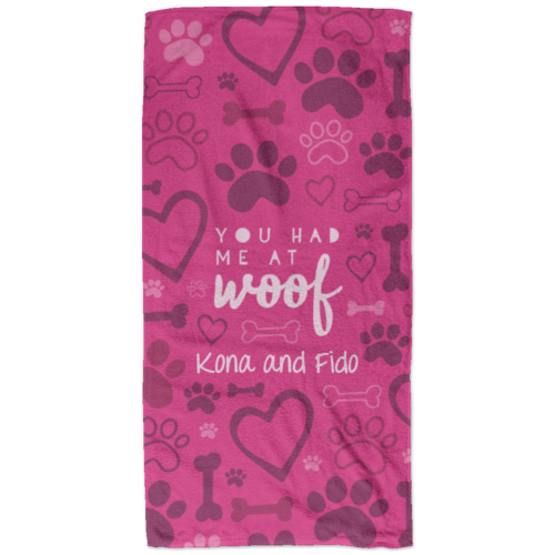 You Had Me At Woof Personalized Beach Towel