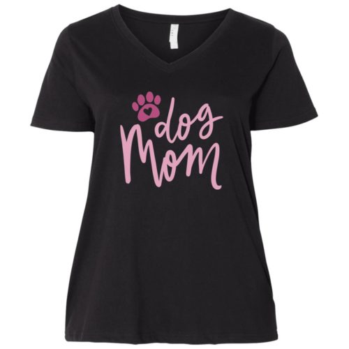 Dog Mom Curvy Fit Black V-Neck Tee