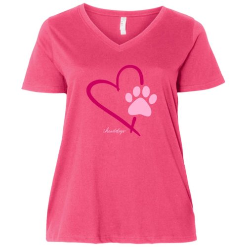 Paw In My Heart Curvy Fit Pink V-Neck Tee