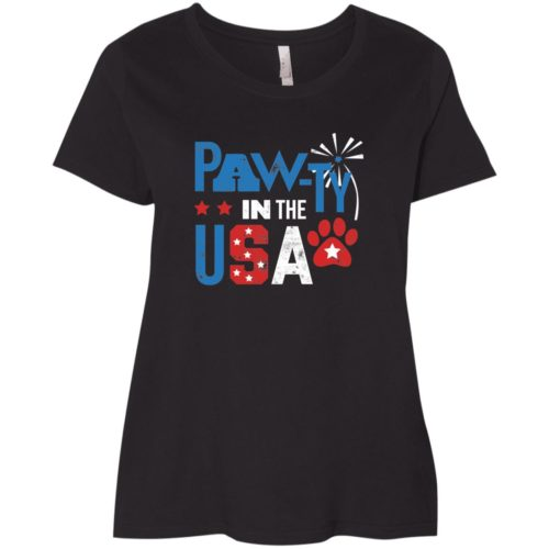 Pawty In The USA Curvy Fit Black Scoop Neck Tee