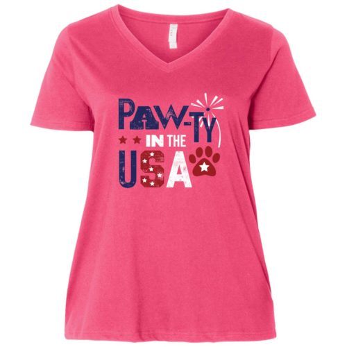 Pawty In The USA Curvy Fit Pink V-Neck Tee