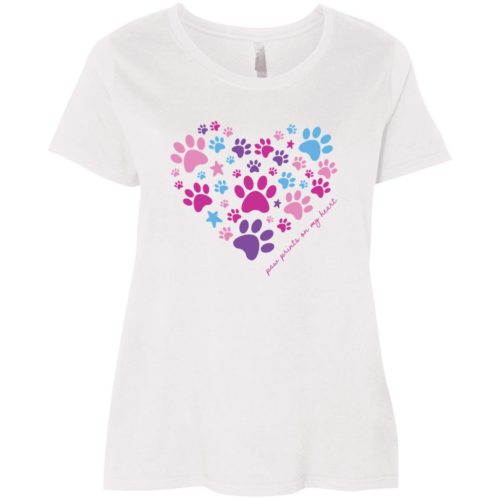 Paw Prints On My Heart Curvy Fit White Scoop Neck Tee