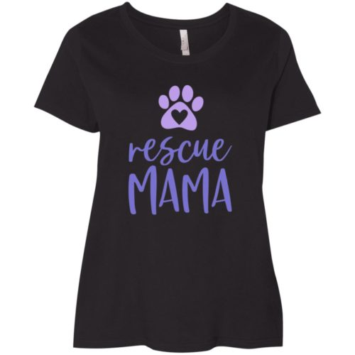 Rescue Mama Curvy Fit Black Scoop Neck Tee