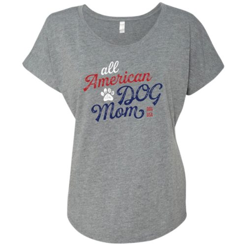 All American Dog Mom Slouchy Heather Grey Tee