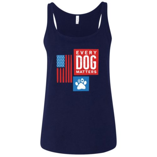 Every Dog Matters Flag Paw Relaxed Fit Navy Tank