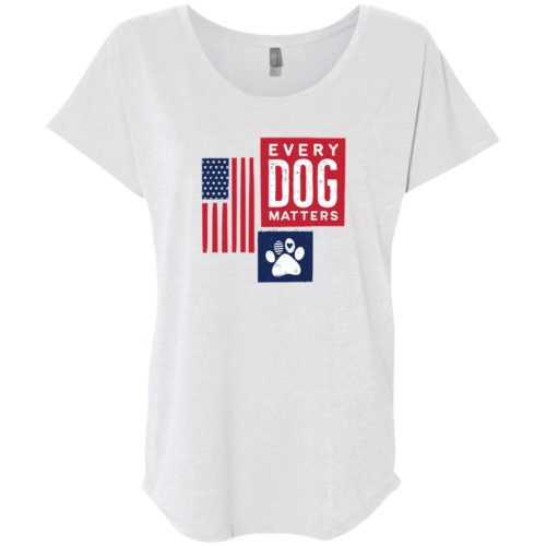 Every Dog Matters Flag Paw Slouchy Heather White Tee