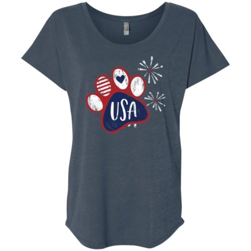 Pawty In The USA Paw Slouchy Indigo Tee