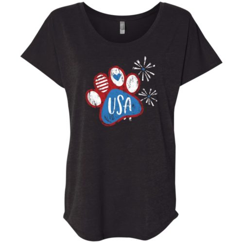 Pawty In The USA Paw Slouchy Black Tee