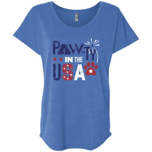 Pawty In The USA Slouchy Vintage Royal Tee