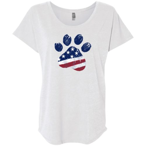 Watercolor Star Spangled Paw Slouchy Heather White Tee
