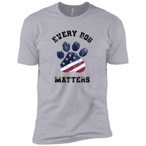 Every Dog Matters Star Spangled Paw Premium Heather Grey Tee