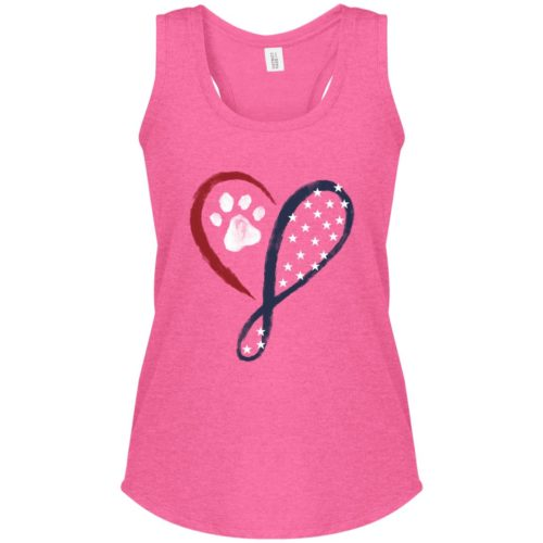 Elegant Heart Stars & Stripes Fuchsia Frost Perfect Tank