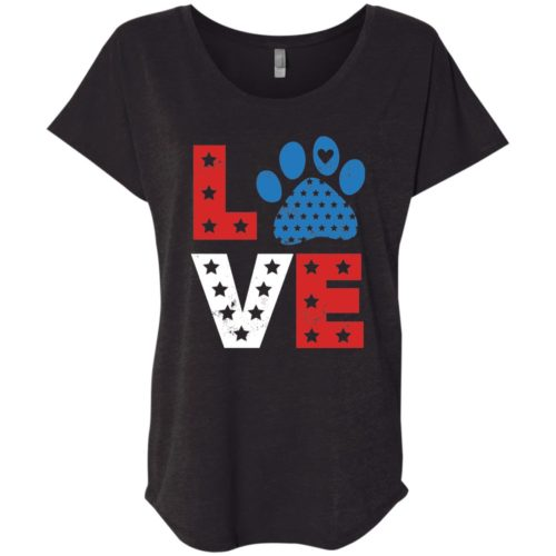 Love Paw USA Slouchy Vintage Black Tee