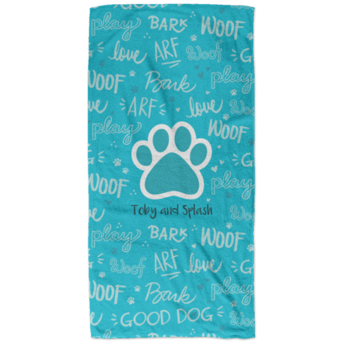 Good Dog Aqua Personalized Beach Towel