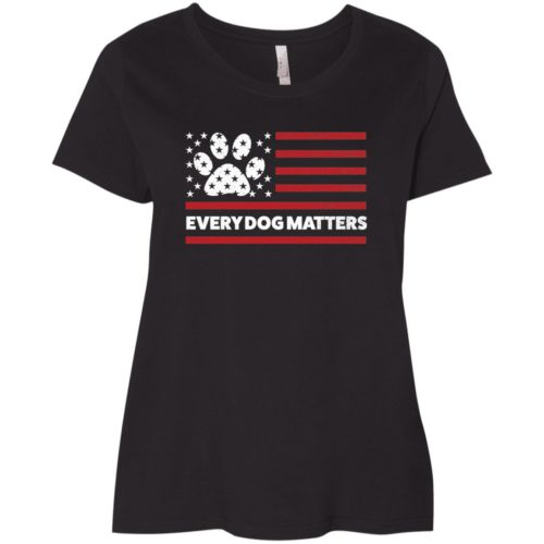 Every Dog Matters Flag Curvy Fit Black Scoop Neck Tee