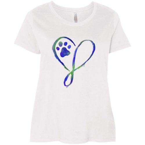 Elegant Heart Curvy Fit White Scoop Neck Tee
