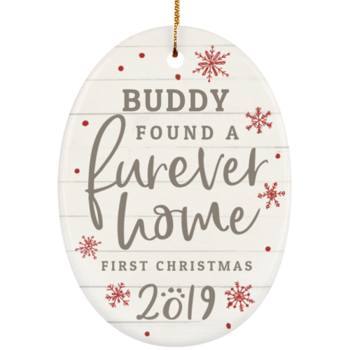 Furever Home First Christmas Personalized Ceramic Oval Ornament