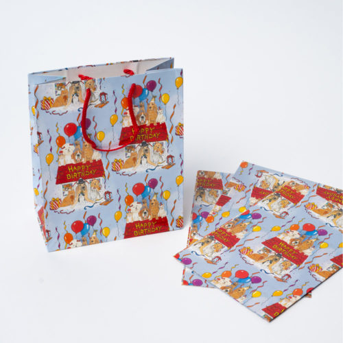 Happy Birthday Dog Party Gift Bag & 3 Gift Wrap Sheets