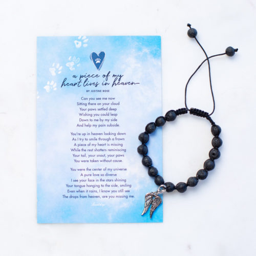 A Piece Of My Heart Lives In Heaven Memorial Lava Bead Bracelet & Magnet Gift Set