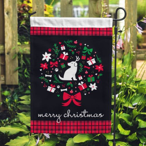 Reindeer Pup Christmas Wreath Garden Flag