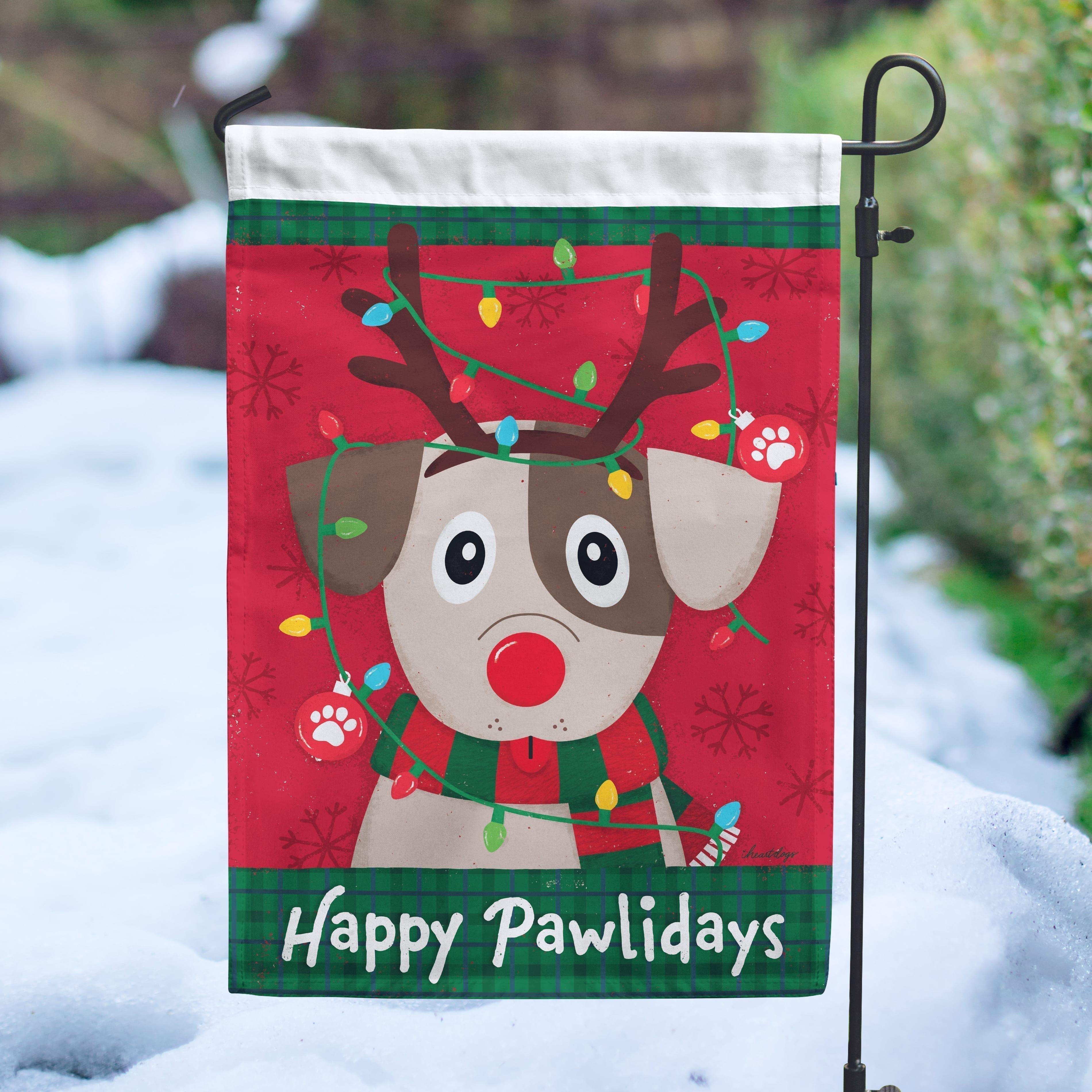 Happy Pawlidays Reindeer Pup Garden Flag - Get 2 for $14.99!