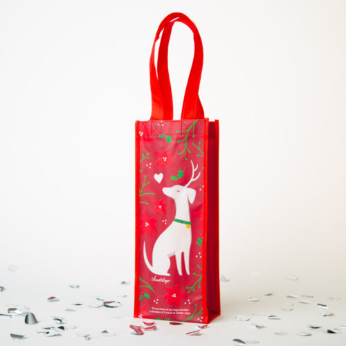 I Love My Reindeer Dog Reusable Wine Bag