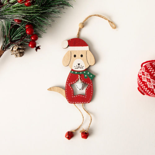 Jingle Bells Santa Dog Holiday Decoration