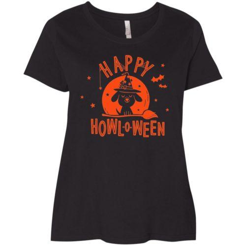 Happy Howl-O-Ween Curvy Fit Black Scoop Neck Tee