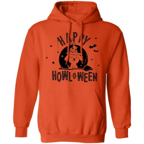 Happy Howl-O-Ween Orange Pullover Hoodie
